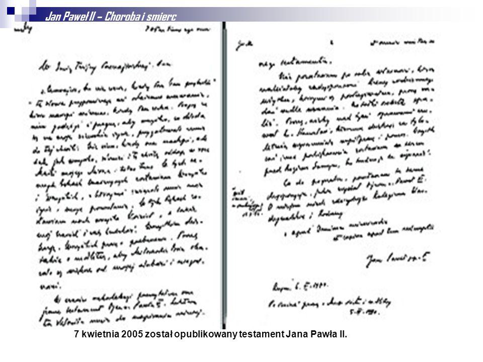 Jan Paweł II – Choroba i smierc