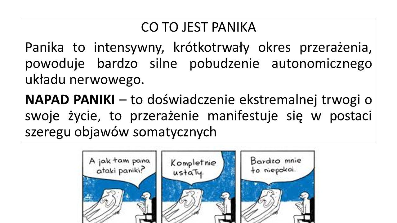 CO TO JEST PANIKA Panika to intensywny, krótkotrwały okres przerażenia, powoduje bardzo silne pobudzenie autonomicznego układu nerwowego.