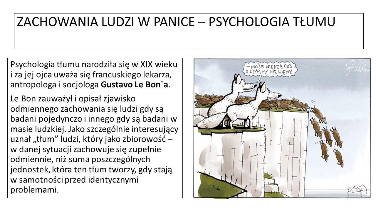 ZACHOWANIA LUDZI W PANICE – PSYCHOLOGIA TŁUMU