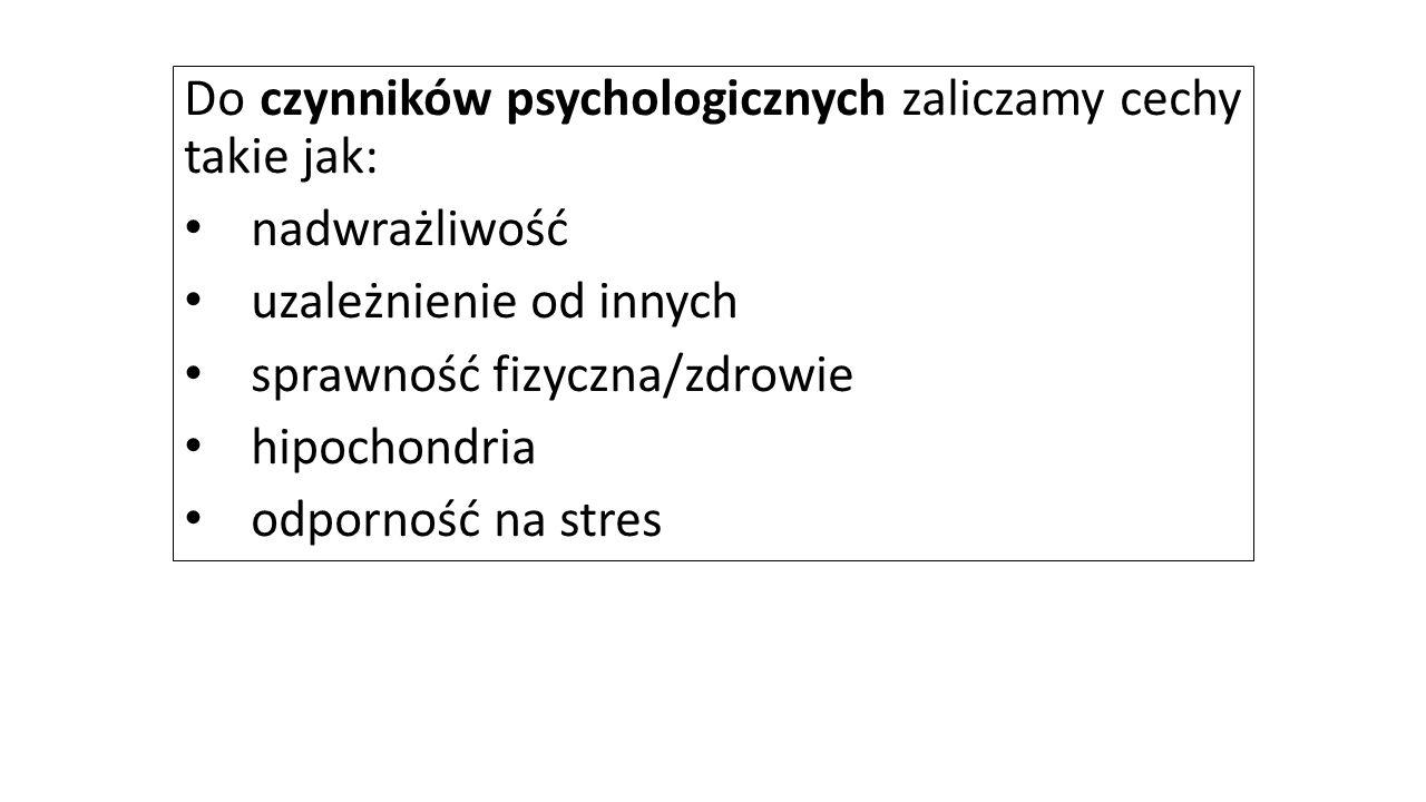 Do czynników psychologicznych zaliczamy cechy takie jak: