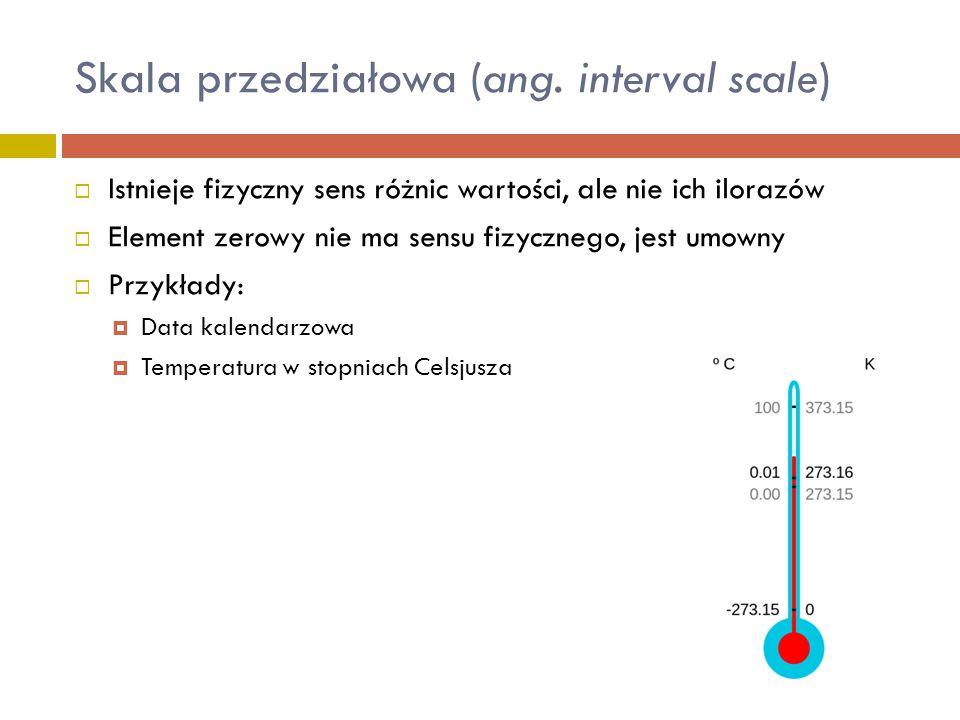Skala przedziałowa (ang. interval scale)