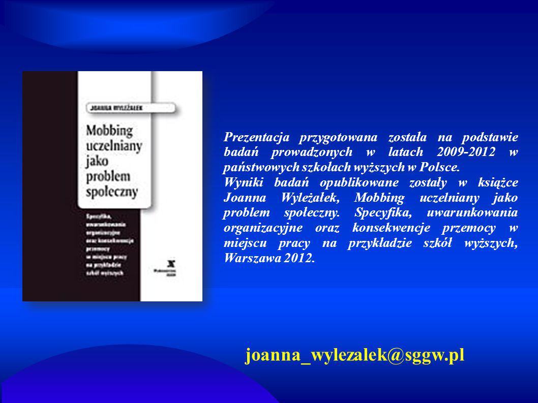 Prezentacja przygotowana została na podstawie badań prowadzonych w latach 2009-2012 w państwowych szkołach wyższych w Polsce.