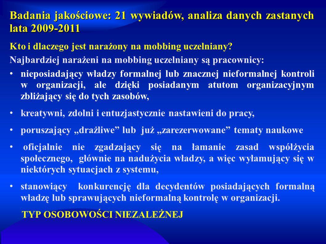 Badania jakościowe: 21 wywiadów, analiza danych zastanych lata 2009-2011