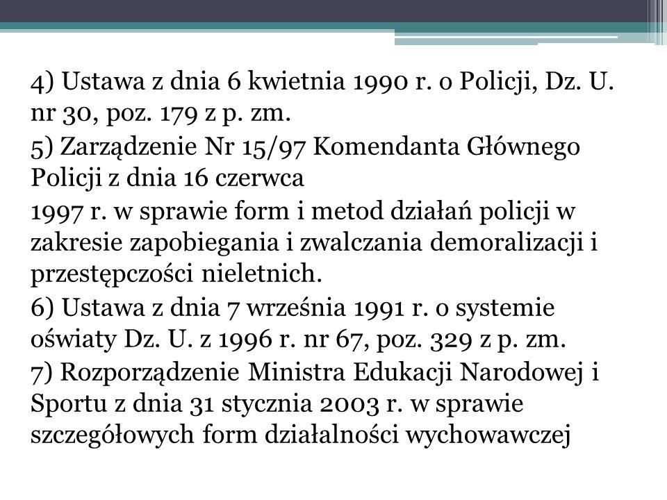 4) Ustawa z dnia 6 kwietnia 1990 r. o Policji, Dz. U. nr 30, poz