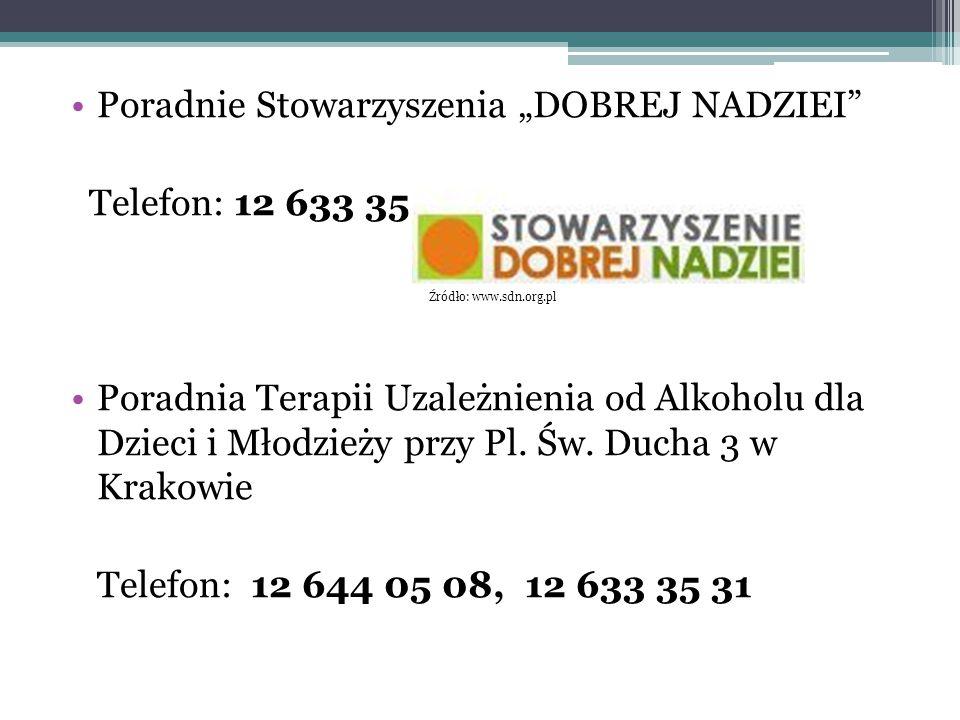 """Poradnie Stowarzyszenia """"DOBREJ NADZIEI Telefon: 12 633 35 31"""