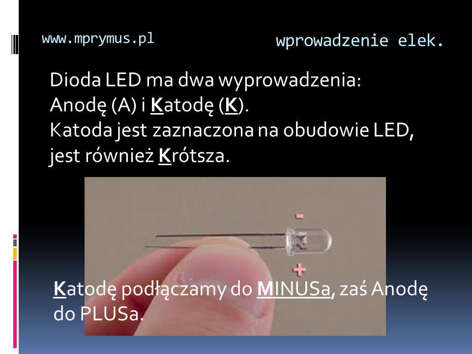 Dioda LED ma dwa wyprowadzenia: Anodę (A) i Katodę (K).