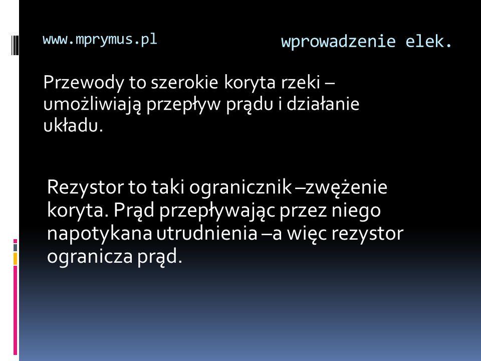 www.mprymus.pl wprowadzenie elek. Przewody to szerokie koryta rzeki –umożliwiają przepływ prądu i działanie układu.