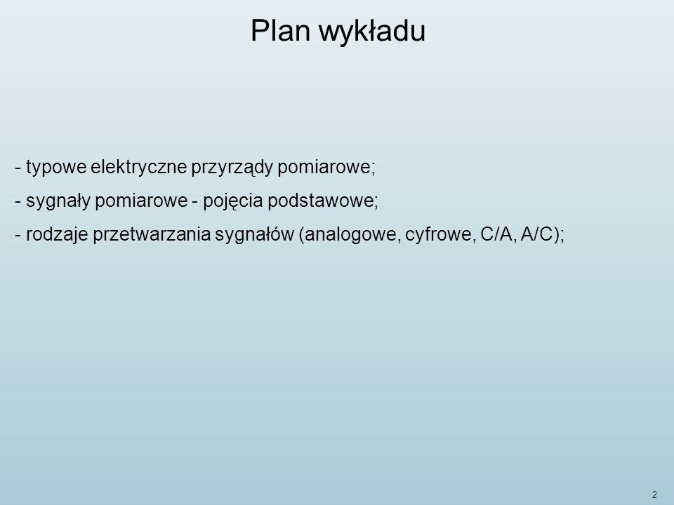 Plan wykładu typowe elektryczne przyrządy pomiarowe;