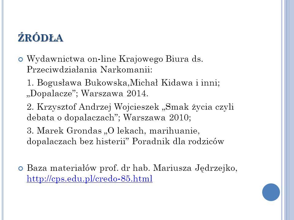 źródła Wydawnictwa on-line Krajowego Biura ds. Przeciwdziałania Narkomanii: