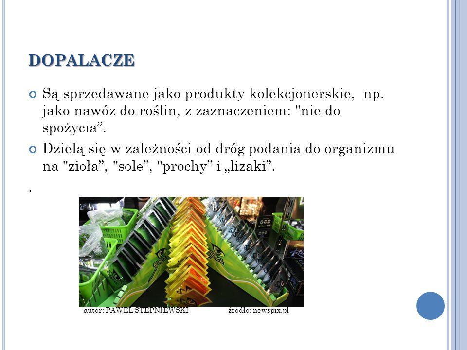 dopalacze Są sprzedawane jako produkty kolekcjonerskie, np. jako nawóz do roślin, z zaznaczeniem: nie do spożycia .