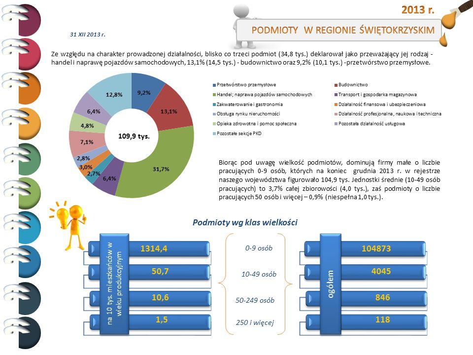 2013 r. PODMIOTY W REGIONIE ŚWIĘTOKRZYSKIM Podmioty wg klas wielkości