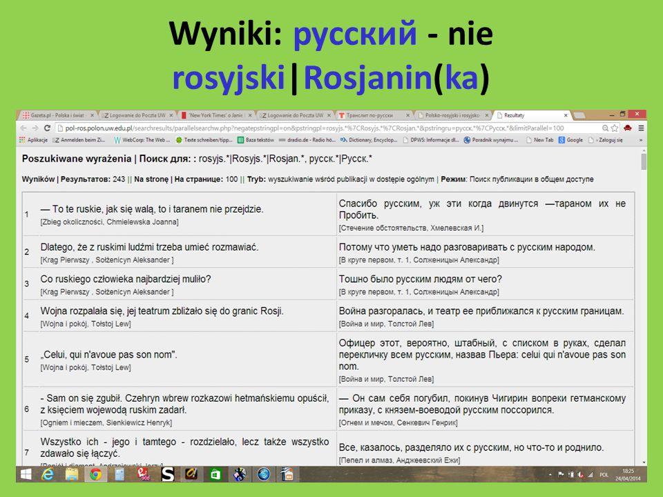 Wyniki: русский - nie rosyjski|Rosjanin(ka)