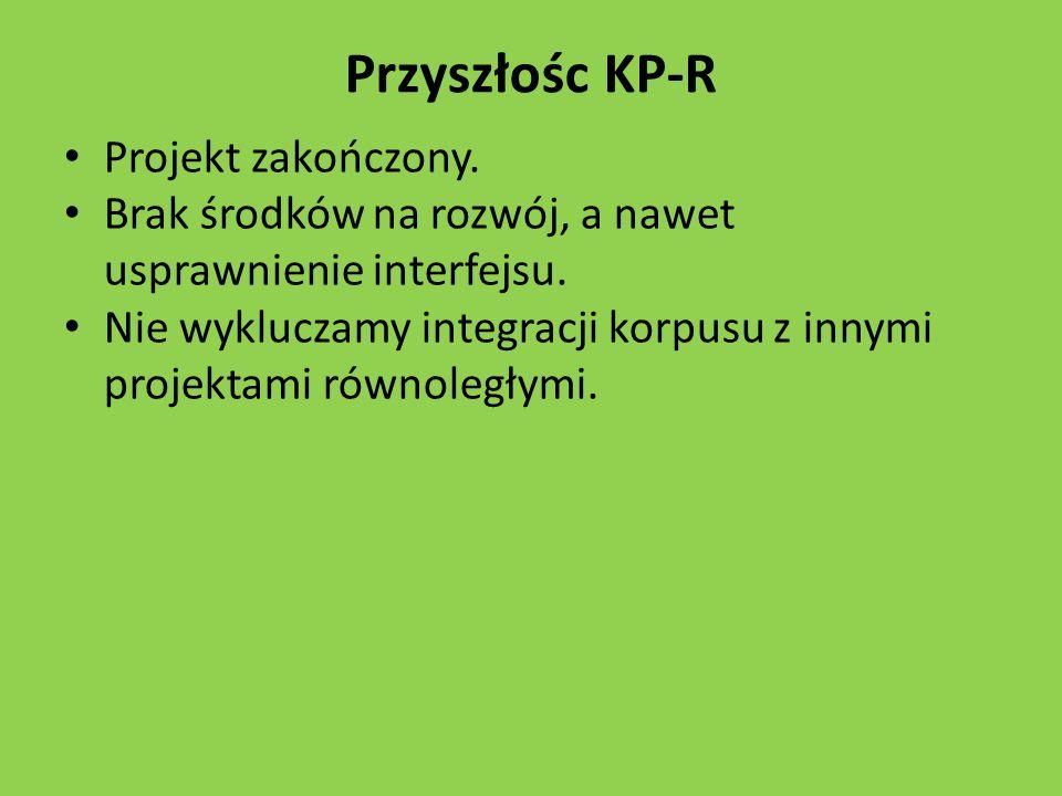 Przyszłośc KP-R Projekt zakończony.