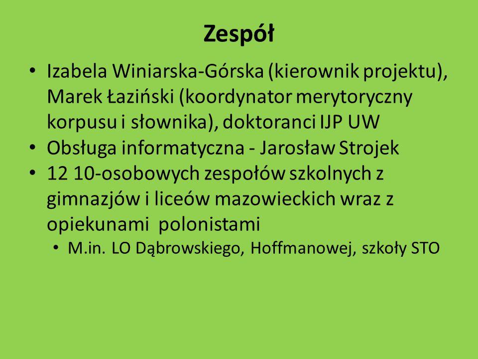 Zespół Izabela Winiarska-Górska (kierownik projektu), Marek Łaziński (koordynator merytoryczny korpusu i słownika), doktoranci IJP UW.