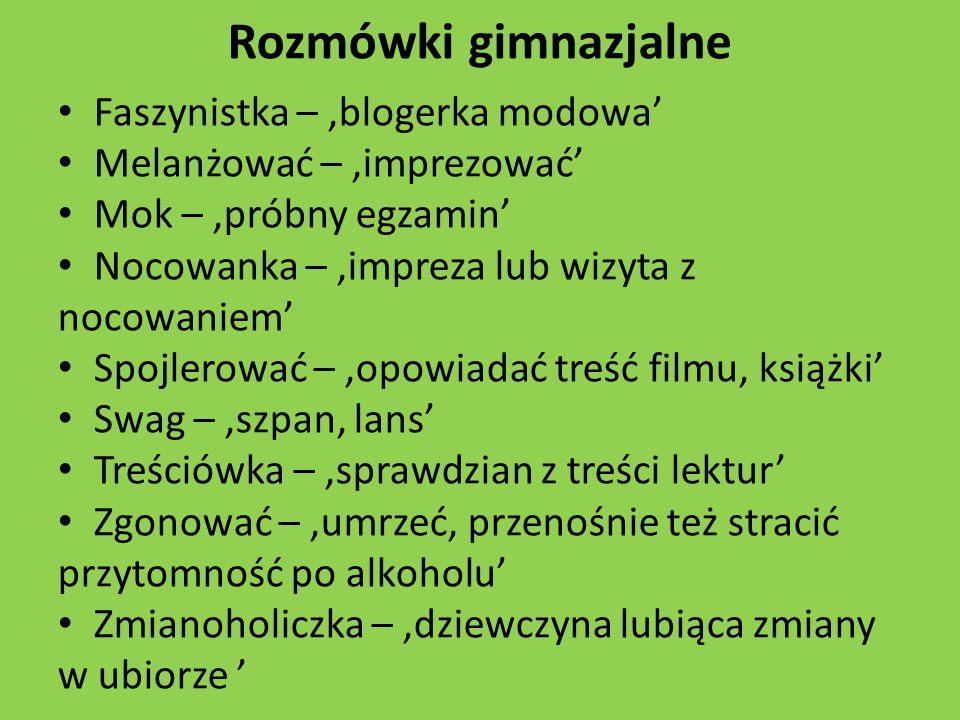 Rozmówki gimnazjalne Faszynistka – 'blogerka modowa'