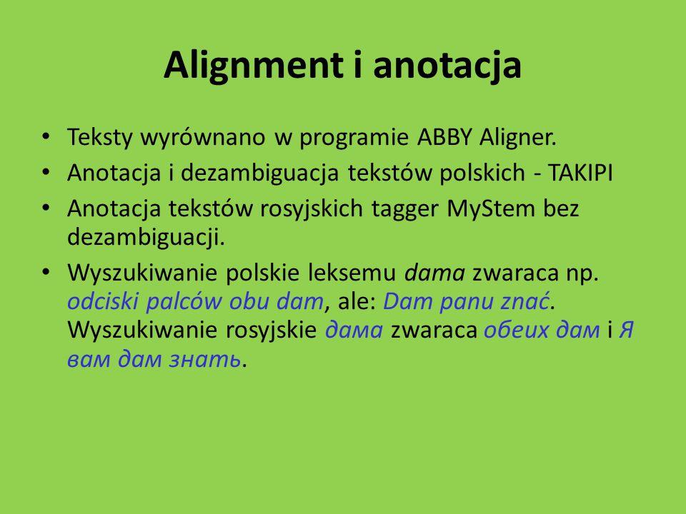 Alignment i anotacja Teksty wyrównano w programie ABBY Aligner.