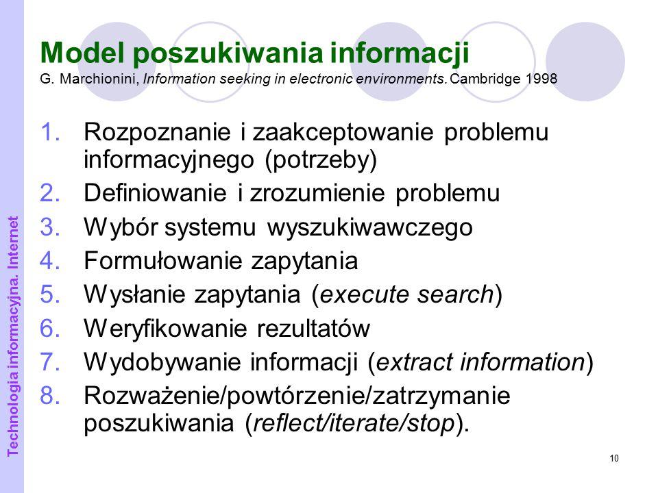Model poszukiwania informacji G