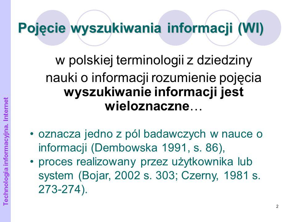 Pojęcie wyszukiwania informacji (WI)