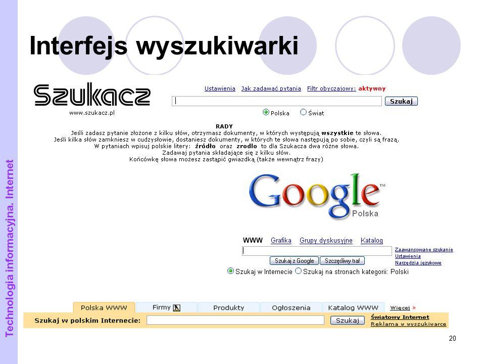 Interfejs wyszukiwarki