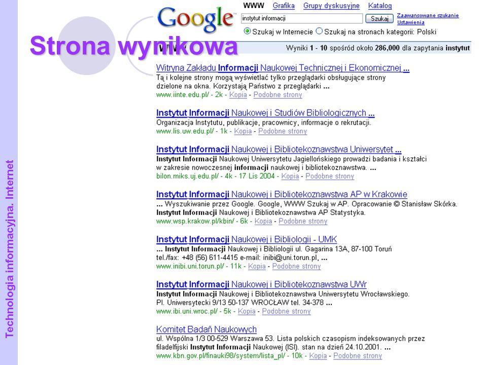 Strona wynikowa Technologia informacyjna. Internet