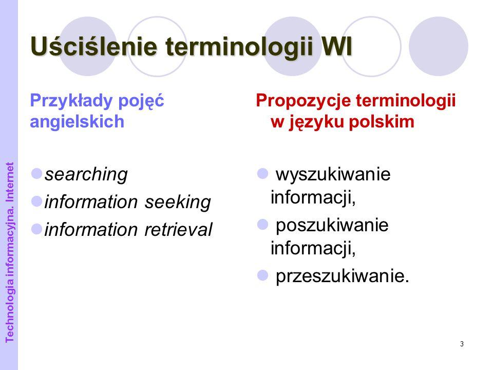 Uściślenie terminologii WI
