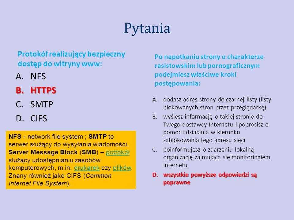 Pytania NFS HTTPS SMTP CIFS