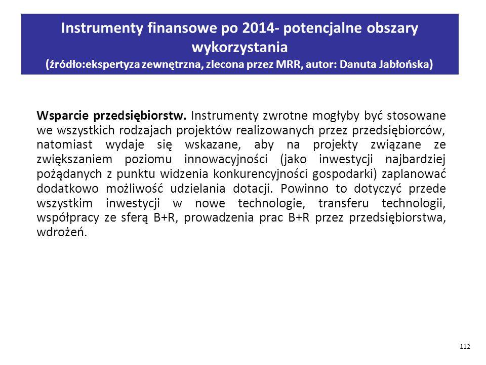 Instrumenty finansowe po 2014- potencjalne obszary wykorzystania (źródło:ekspertyza zewnętrzna, zlecona przez MRR, autor: Danuta Jabłońska)