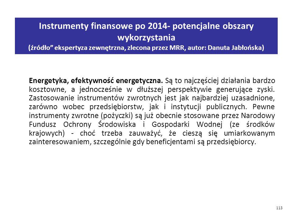 Instrumenty finansowe po 2014- potencjalne obszary wykorzystania (źródło ekspertyza zewnętrzna, zlecona przez MRR, autor: Danuta Jabłońska)