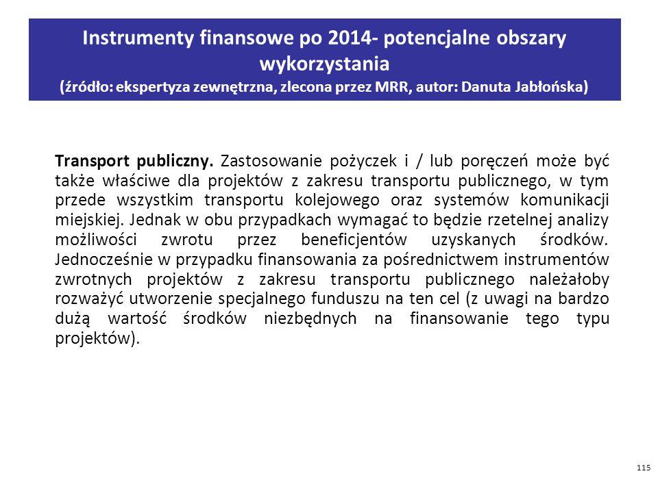 Instrumenty finansowe po 2014- potencjalne obszary wykorzystania (źródło: ekspertyza zewnętrzna, zlecona przez MRR, autor: Danuta Jabłońska)