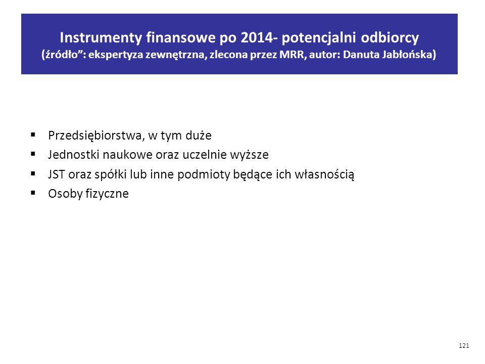 Instrumenty finansowe po 2014- potencjalni odbiorcy (źródło : ekspertyza zewnętrzna, zlecona przez MRR, autor: Danuta Jabłońska)