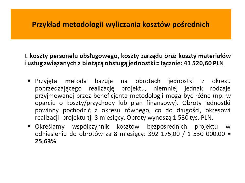 Przykład metodologii wyliczania kosztów pośrednich