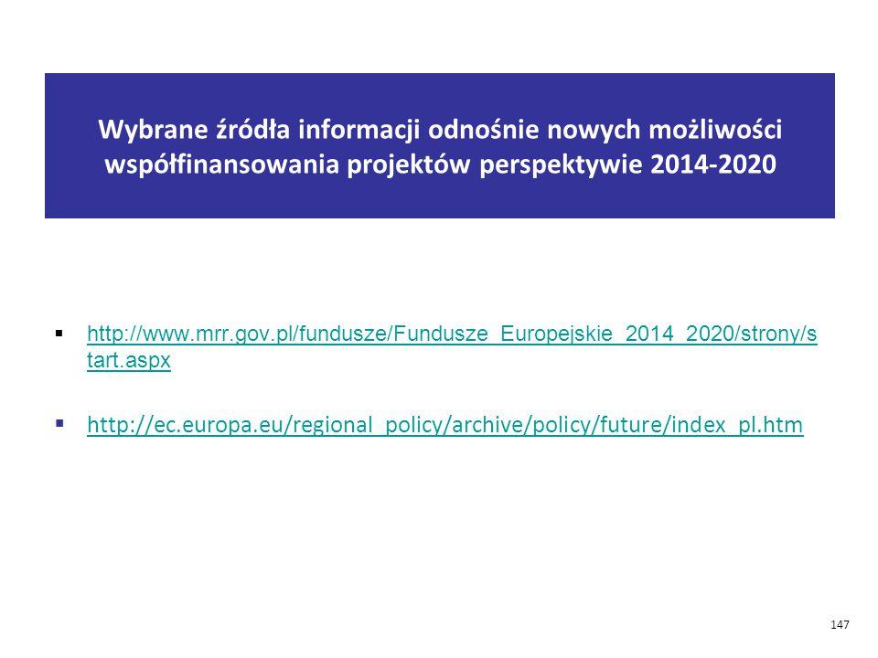 Wybrane źródła informacji odnośnie nowych możliwości współfinansowania projektów perspektywie 2014-2020