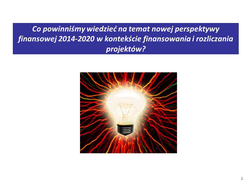 Co powinniśmy wiedzieć na temat nowej perspektywy finansowej 2014-2020 w kontekście finansowania i rozliczania projektów