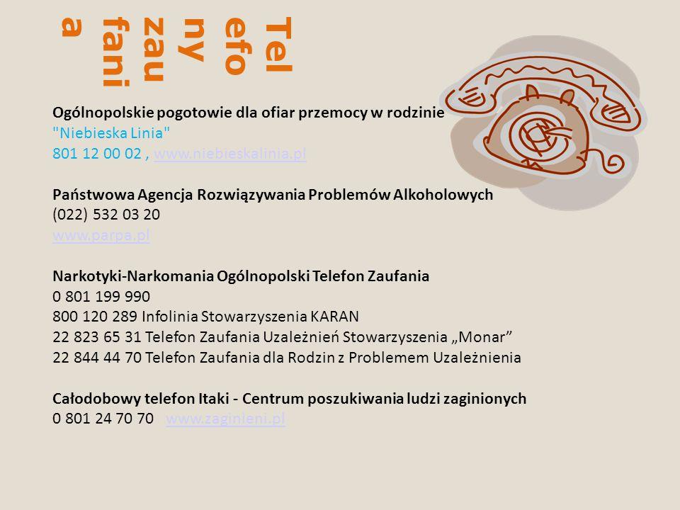 Telefony zaufania Ogólnopolskie pogotowie dla ofiar przemocy w rodzinie Niebieska Linia 801 12 00 02 , www.niebieskalinia.pl.