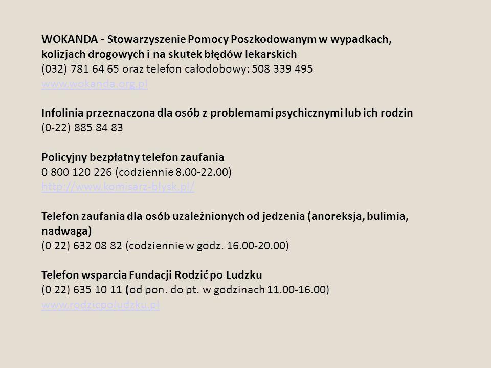 WOKANDA - Stowarzyszenie Pomocy Poszkodowanym w wypadkach, kolizjach drogowych i na skutek błędów lekarskich
