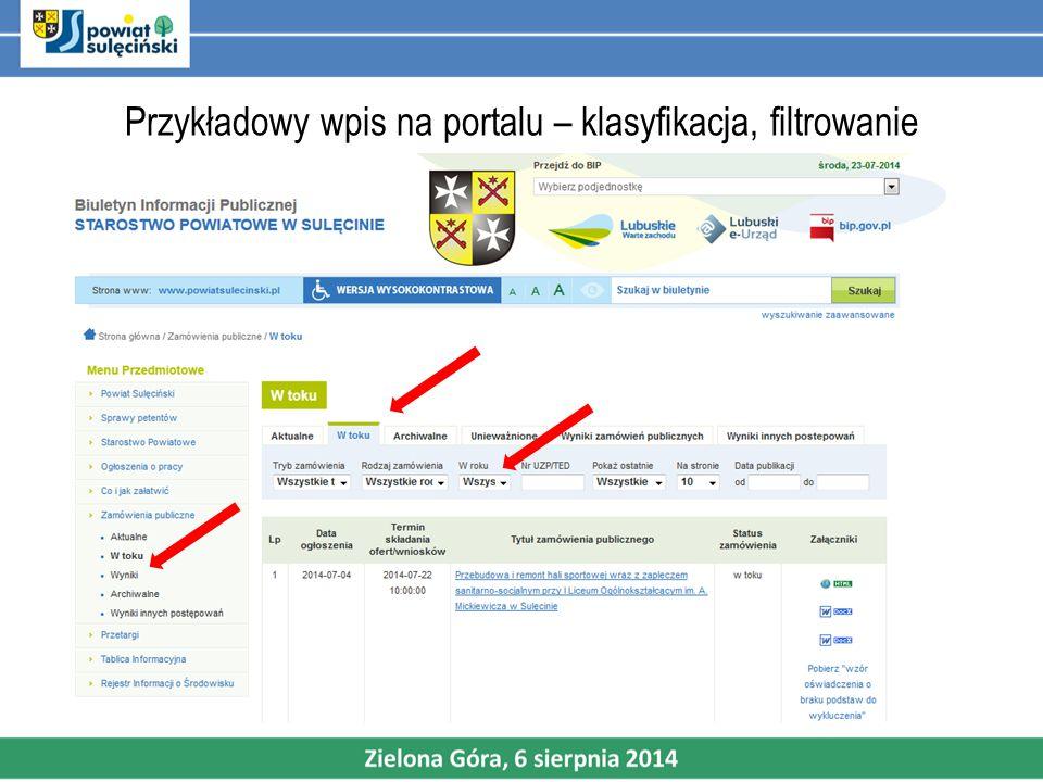 Przykładowy wpis na portalu – klasyfikacja, filtrowanie