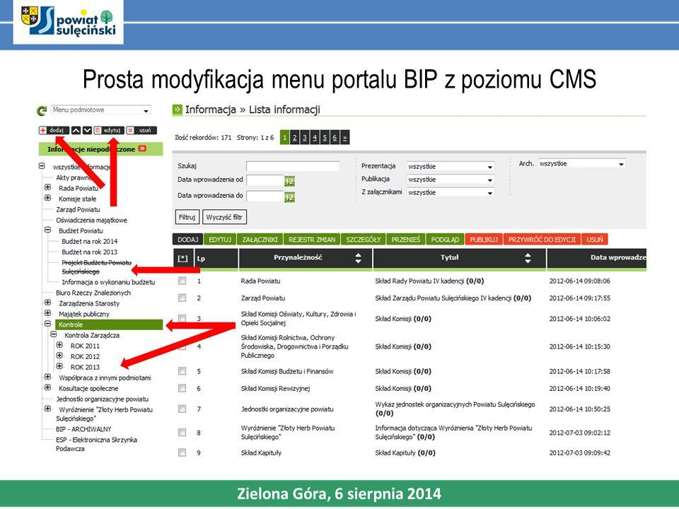 Prosta modyfikacja menu portalu BIP z poziomu CMS