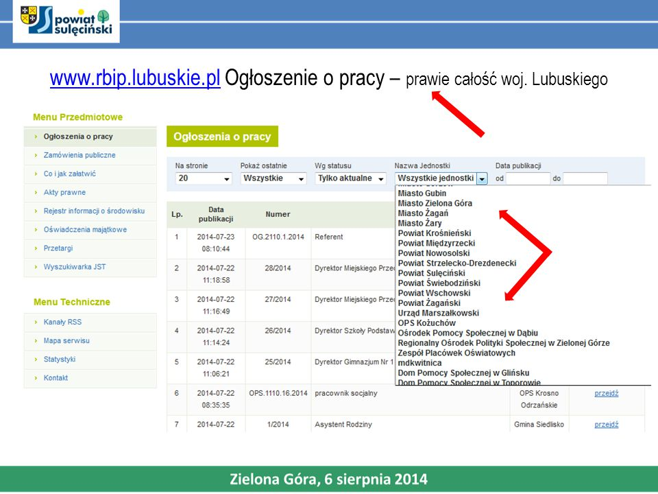 www. rbip. lubuskie. pl Ogłoszenie o pracy – prawie całość woj