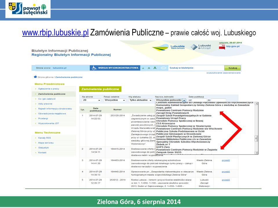 www. rbip. lubuskie. pl Zamówienia Publiczne – prawie całość woj