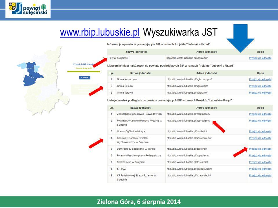 www.rbip.lubuskie.pl Wyszukiwarka JST