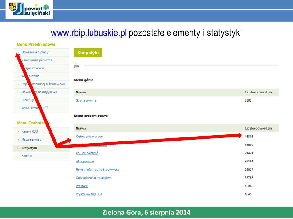 www.rbip.lubuskie.pl pozostałe elementy i statystyki