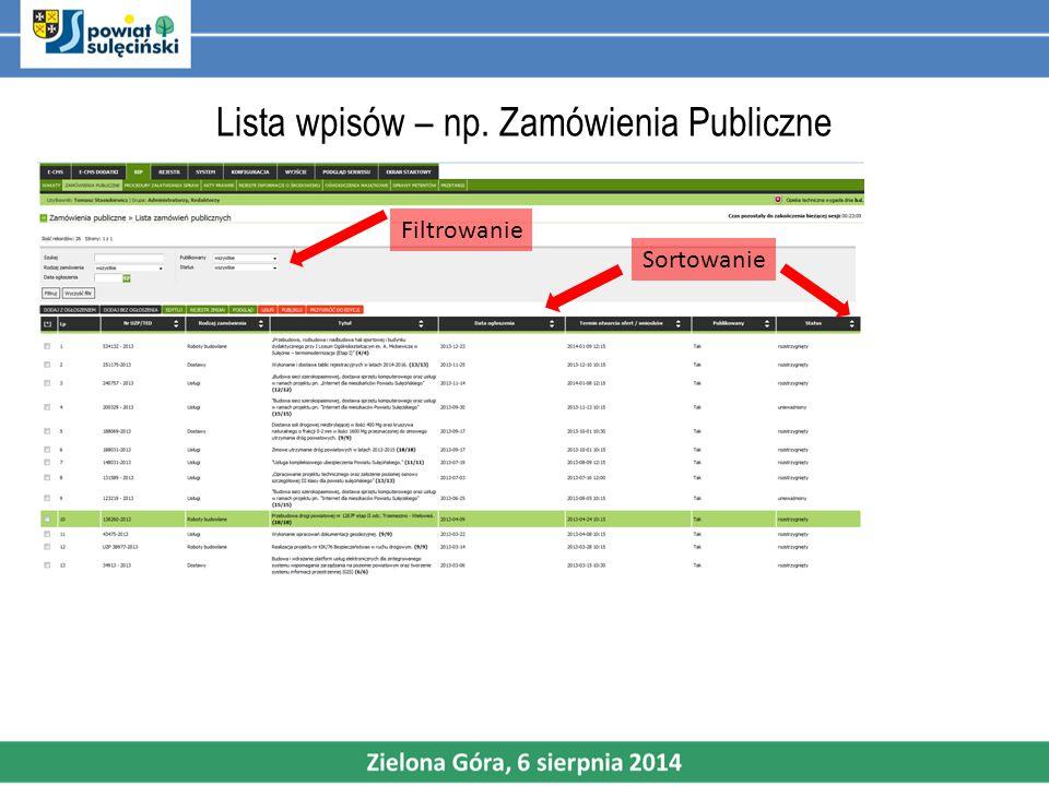 Lista wpisów – np. Zamówienia Publiczne