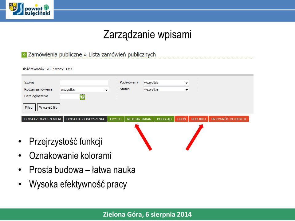 Zarządzanie wpisami Przejrzystość funkcji Oznakowanie kolorami