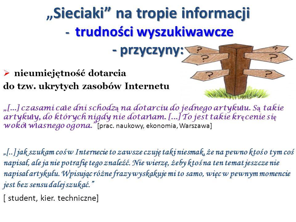 """""""Sieciaki na tropie informacji - trudności wyszukiwawcze - przyczyny:"""