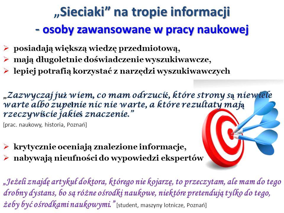 """""""Sieciaki na tropie informacji - osoby zawansowane w pracy naukowej"""