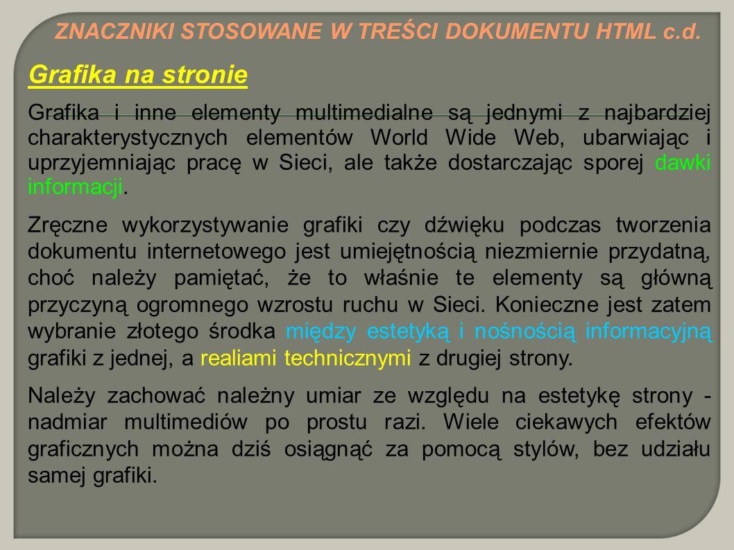 Grafika na stronie ZNACZNIKI STOSOWANE W TREŚCI DOKUMENTU HTML c.d.