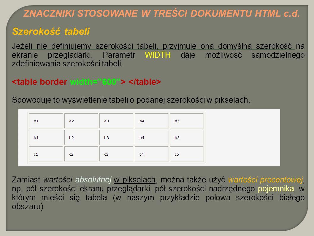 Szerokość tabeli ZNACZNIKI STOSOWANE W TREŚCI DOKUMENTU HTML c.d.
