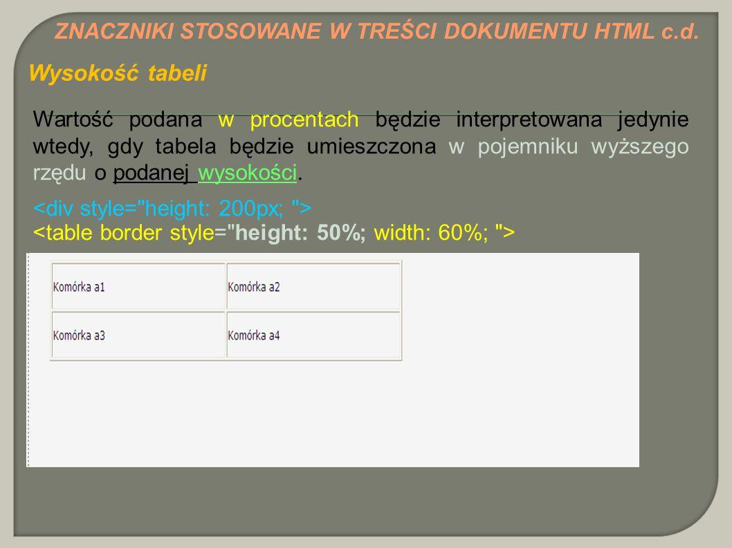 Wysokość tabeli ZNACZNIKI STOSOWANE W TREŚCI DOKUMENTU HTML c.d.
