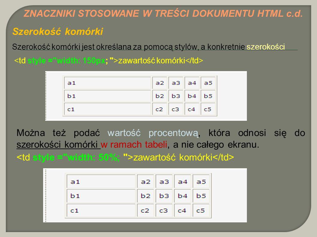 Szerokość komórki ZNACZNIKI STOSOWANE W TREŚCI DOKUMENTU HTML c.d.