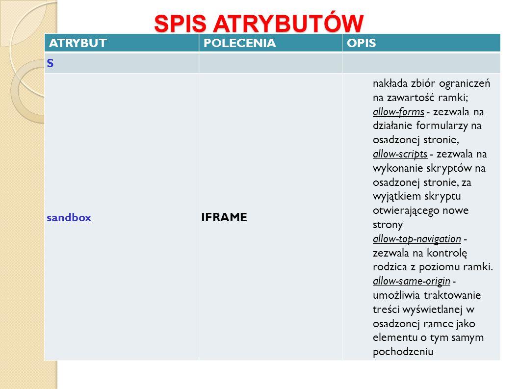 SPIS ATRYBUTÓW ATRYBUT POLECENIA OPIS S sandbox IFRAME